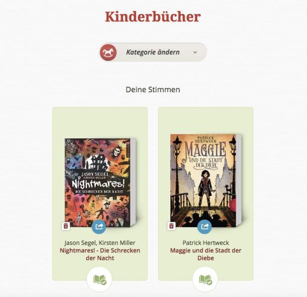 Lovelybooks Leserpreis 2015 Kinderbücher
