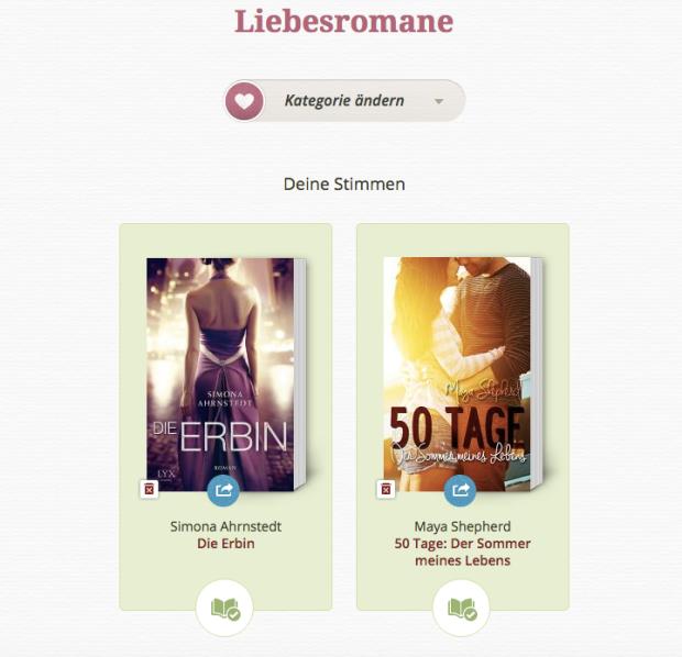 Lovelybooks Leserpreis 2015 Liebesromane